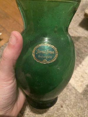 Antique forest green anchor glass vase for Sale in Rutherfordton, NC