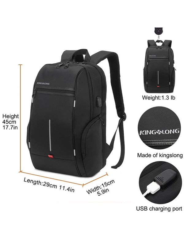 BLACK KINGSLONG 15.6 inches LAPTOP BACKPACK WITH USB PORT