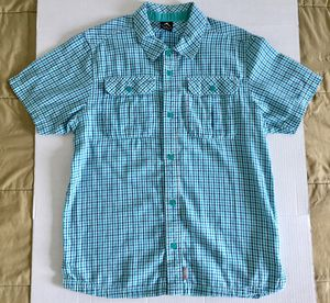 Air Jordan Green Teal Blue White Casual Checkered Button S/S Shirt Mens Sz Large for Sale in Tempe, AZ