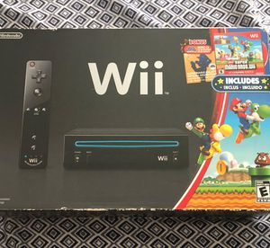 Nintendo Wii Holiday Bundle black console with super Mario bros. for Sale in Zephyrhills, FL
