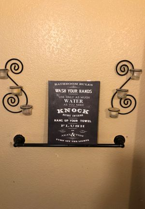 To wall sconces with two candleholders and a bathroom sign. for Sale in Corona, CA