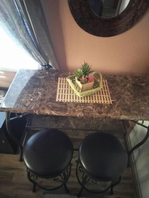 Bar table and 2 leather bar stools for Sale in Phelan, CA