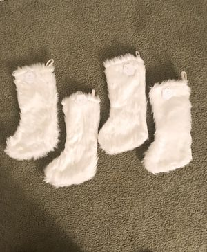4 White fur stockings (New with Tags) for Sale in Pinole, CA