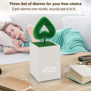 Digital Alarm Clock Wood LED Light Modern Cube Desk Alarm Clock with Artificial Green Plant Time Date Temperature Display for Home Office Travel for Sale in Westminster, CA