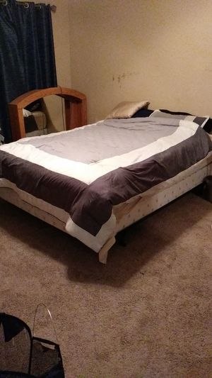 Queen size bed with matching box spring and bed frame for Sale in Newport Beach, CA