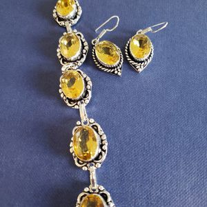 Faceted-citine-bracelet-earrings Set 925 for Sale in Los Angeles, CA