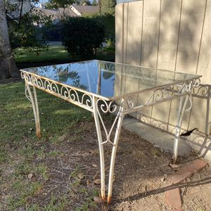 Vintage wrought iron table with glass for Sale in Los Angeles, CA
