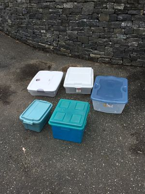 Lot of five storage container for Sale in Concord, MA