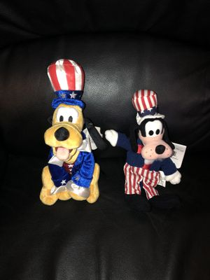 Disney Fourth of July Independence Day Beanie Babies New with Tags (Pluto and Goofy) for Sale in Fresno, CA