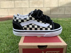 Vans old skool V Black white checkers new in box size 8 toddlers $40 pick up for Sale in Huntington Beach, CA