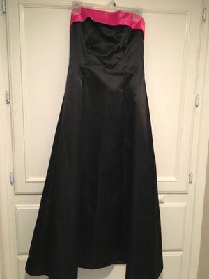 Teenager/woman's black satin.fushia satin trim strapless dress size 7/8 for Sale in Fresno, CA
