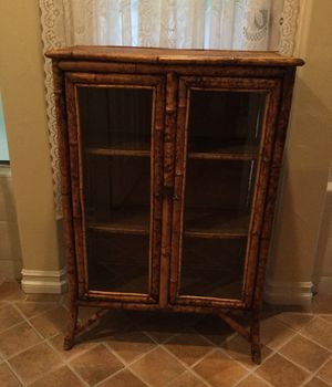 Antique Victorian burnt bamboo cabinet/bookcase with three shelves and glass front double doors. Unusual to find double glass front doors. Pieces sim for Sale in Carlsbad, CA