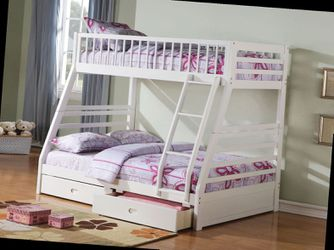 Twin/Full Bunk Bed AND Drawers - 37040 - White for Sale in Pomona,  CA