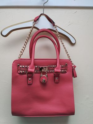 MG Collection Pink Leather Handbag Purse Gold Chain Padlock Spiked Studded for Sale in Tigard, OR