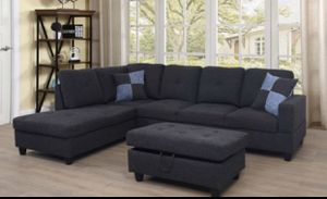 Black gray sectional couch with storage ottoman. Fabric linen for Sale in Albany, CA