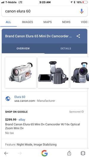 camera canon elura 60 for Sale in Detroit, MI