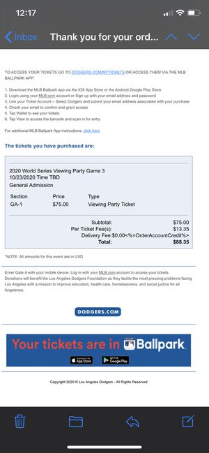 Dodger viewing party ticket (sold out) for Sale in Covina, CA