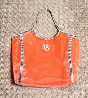 """New! Victoria's Secret pink tote paid $48 This """"VS"""" Oversized Mesh Beach Tote Bag is hot pink mesh with black & white striped trim handles. Measureme for Sale in Washington, DC"""