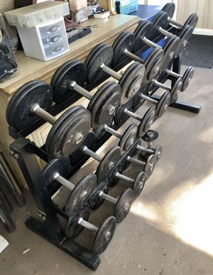Commercial Dumbbell Set with sturdy rack for Sale in Linwood, NC