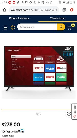 """TCL 55"""" Class 4K UHD LED Roku Smart TV HDR 4 Series 55S421 for Sale in Des Plaines, IL"""