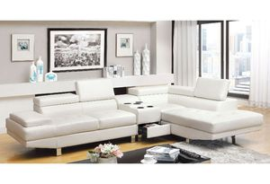 New with Tags White Adjustable Eco Leather Sectional Sofa Couch Consol with Cup Holders and Blue Tooth Speaker. for Sale in Vancouver, WA