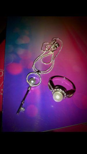 925 StamPed FReSh WaTeR PeaRL KeY & DiaMoNd RiNg SeT for Sale in Bountiful, UT