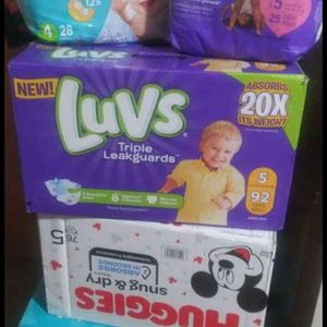 Huggies, Pampers, And Luvs Size 4 And 5 Diapers for Sale in Spartanburg, SC