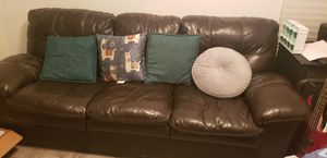 Brown leather couch Costco brand loveseat leather sofa for Sale in Mesa, AZ