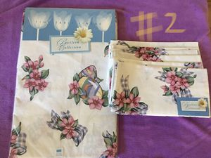 "Pavilion Collection Lily Ginghum Table Cloth with 6 matching napkins 52""x70"" for Sale in San Jose, CA"