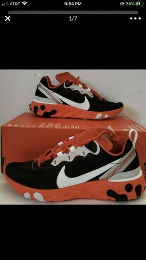 Men's Nike React Element 55 Casual Shoes Black/White/Red Orbit/Bright Crimson CQ 9.5 and 10 for Sale in Bakersfield, CA