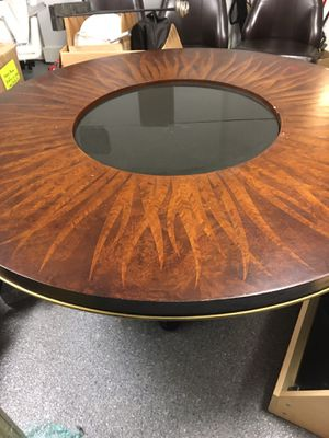 American Drew Bob Mackie Feather Dining Table with 4 Leather Chairs for Sale in Corpus Christi, TX
