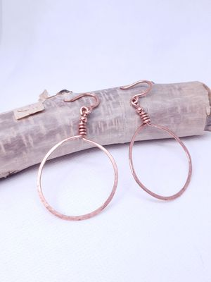 Gorgeous Copper Hammered wire wrapped Hoop Earrings! for Sale for sale  Los Angeles, CA
