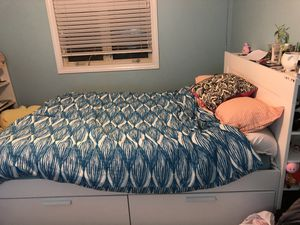 IKEA White Wooden Bedframe with Shelves and Drawers (Queen) comes with FREE Mattress for Sale in Peoria, IL