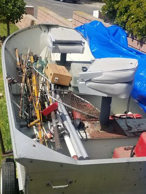 Boat, fishing rods, 2 motors, trailer for Sale in San Diego, CA