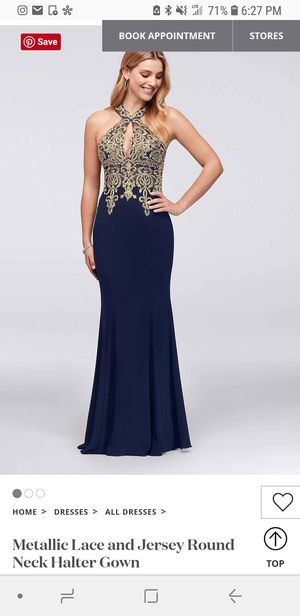 Navy Blue and Gold Prom Dress for Sale in Castro Valley, CA