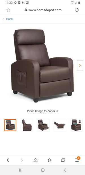 Brown with Padded Seat Ergonomic Adjustable Recliner Massage Chair Single Sofa Hw64114cf for Sale in El Monte, CA