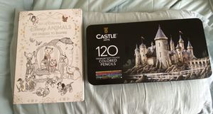 Art of coloring Disney animals, Castle arts 120 premium soft touch colored pencils for Sale in Chicago, IL