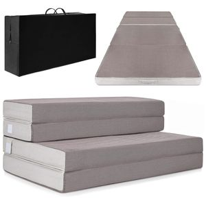Best Choice Products 4in Thick Folding Portable Full Mattress Topper, Plush Foam, Washable Cover - Gray for Sale in Quincy, MA