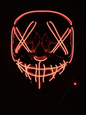 New halloween costume mask cosplay rave party LED glow scary mask costume party orange pink green or white purge movie dance club for Sale in West Covina, CA