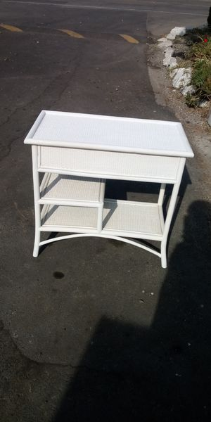 Sturdy wovin stand with shelves.bamboo legs. for Sale in Stockton, CA