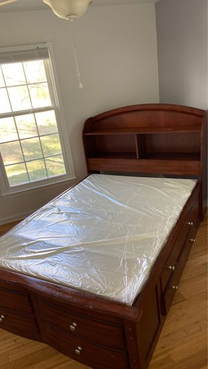 1 full bed/ cabinet and mirror/ night stand/ storage shelf/ mirror for Sale in High Point, NC