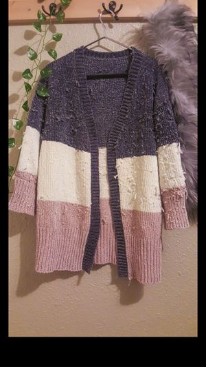 Cute warm tri color cardigan for Sale in Keizer, OR