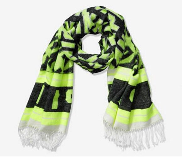 Victoria's Secret PINK Neon Green Black Classic Fringe Blanket Scarf NEW NWT