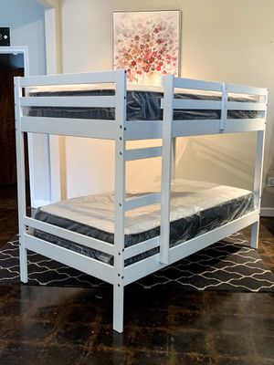 Twin over Twin White Bunk Bed & Twin Mattresses for Sale in Mesquite, TX