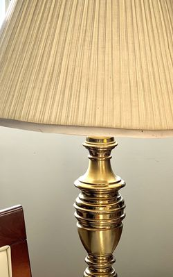 """Vintage Brass Leviton Table Lamp 26""""tall with Original Pleated Shade 14"""" tall Really nice old Leviton table lamp - with brass base it works perfectl for Sale in Mountain View,  CA"""