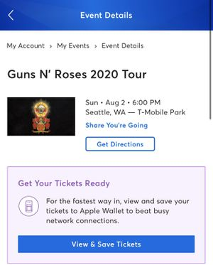 2 Guns N' Roses tickets! Or trade for Sale in Monroe, WA
