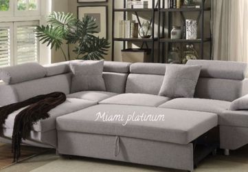 Sectional Sofa 🛋 Q/Sleeper Gray /// Financing Available for Sale in Miami,  FL
