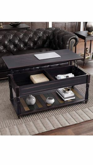 Lift-Top Coffee Table with Turned Real Wood Legs and Lower Shelf, 2 Hidden Storage Compartment, Assembly Without Tools for Living Room Home Office Di for Sale in Corona, CA