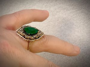 EMERALD CITY OZ COCKTAIL RING SIZE 8 Solid 925 Sterling Silver/Gold WOW! Gemstone: Brilliantly Faceted Pear Cut, Diamond Topaz GIFT BOXED! for Sale in San Diego, CA