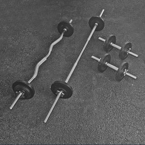 Home Gym Set- Standard Weights, Dumbbells, Straight Bar and Curl Bar (brand New) for Sale in San Jose, CA